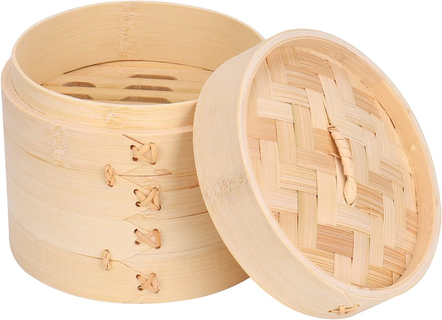 Queta Vaporera de bambú, cesta de vapor de 2 niveles con tapa, ideal para ravioli, verduras, arroz y dim Sum (18 cm)
