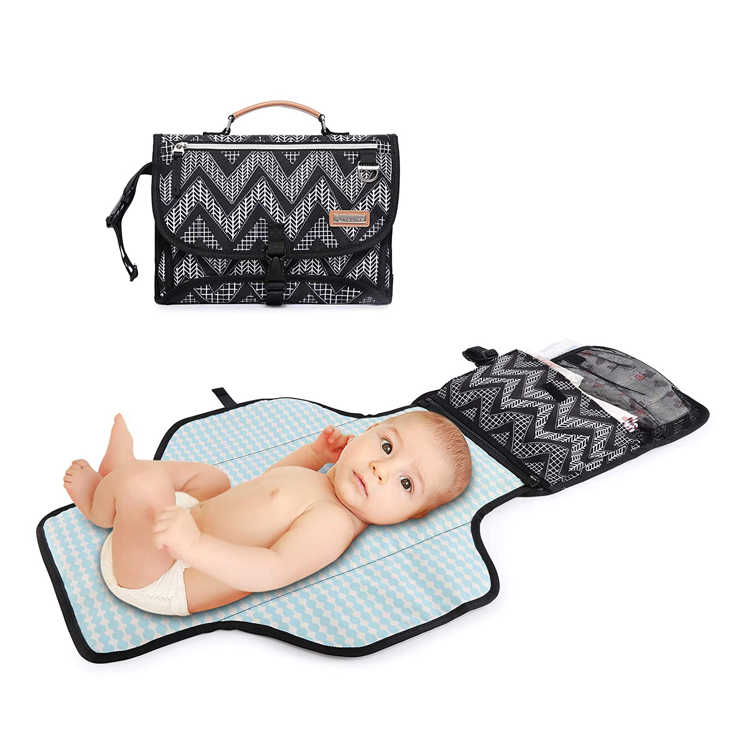 Changing Pad for Diaper Bag, RUVALINO Portable Baby Changing Mat, Waterproof Travel Diaper Clutch, Foldable Changing Wallet for Boys and Girls, Chevron Print