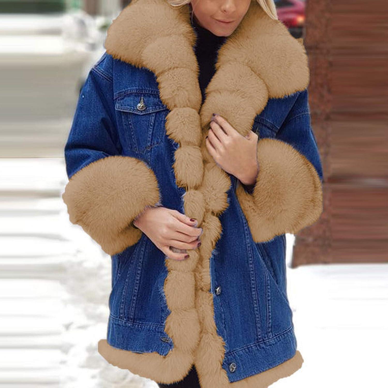 Yukii Damen Warm Jeansjacke Winterjacke Mit Plüsch Kapuze Winddicht Taschen Parka Jacke Outerwear Langarm Sweatjacke Jeans Mantel Kapuzenjacke Einfarbig Denim Khaki