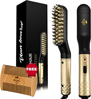 Beard Straightener and Heated Beard Straightening Brush for Men - Multifunctional Electric Hot Comb with Wooden Beard Comb, Hair Straightener for All Hair Types, Great for Travel, Gift