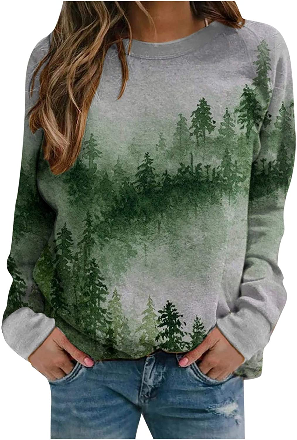 wlczzyn We OFFer at cheap prices Sweatshirts for Women Landscape Print Austin Mall Sleev Sweater Long