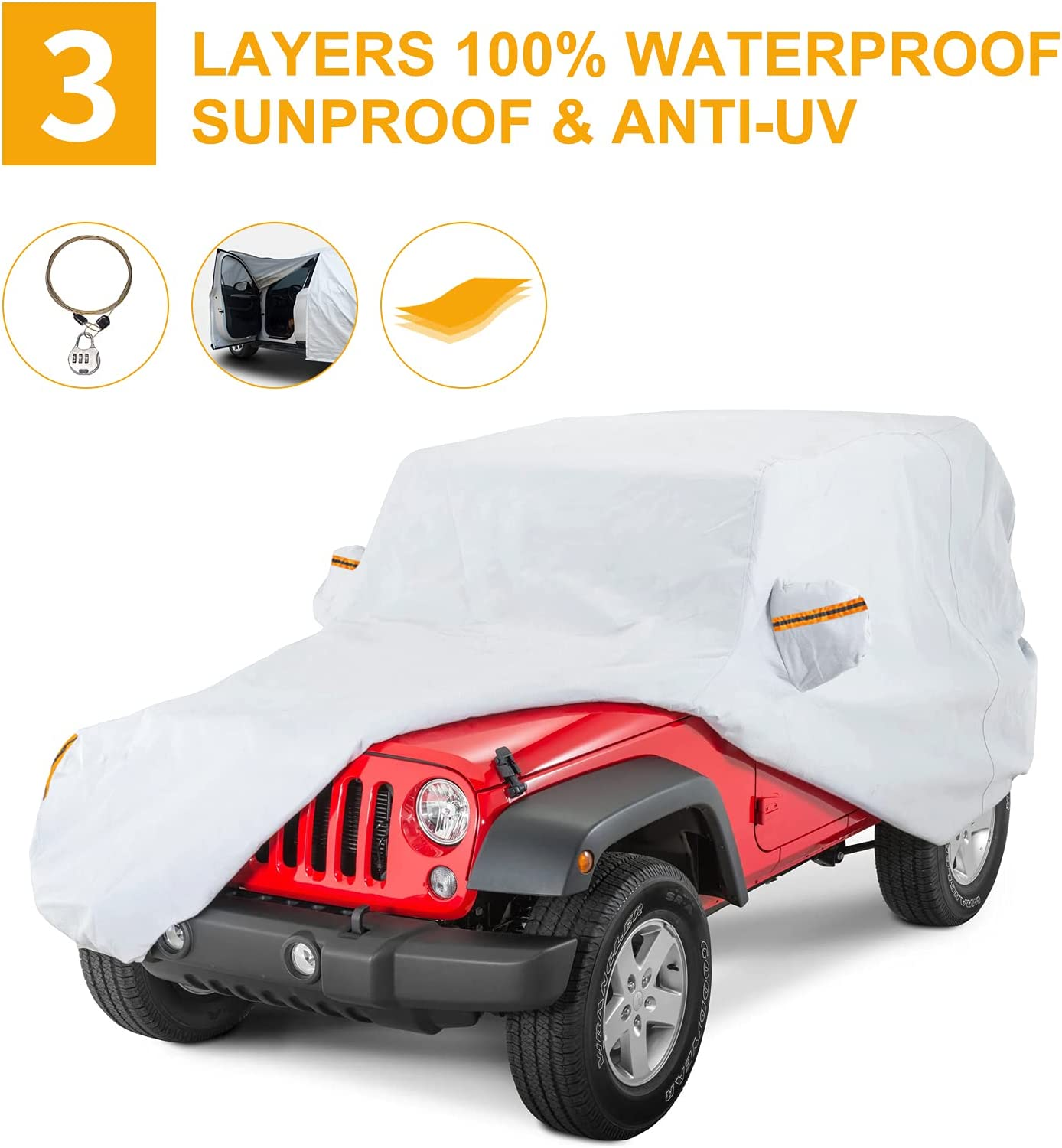 BDFHYK Waterproof Car Cover outlet 2 Wrangler Weather All Door cheap Covers