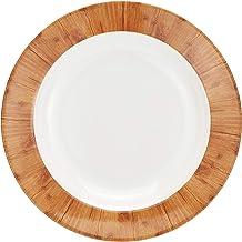 ServeWell 9 inch Teak Wood Rim Soup Plate,White