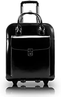 """15.4"""" Leather Vertical Patented Detachable -Wheeled Ladies' Laptop Briefcase"""