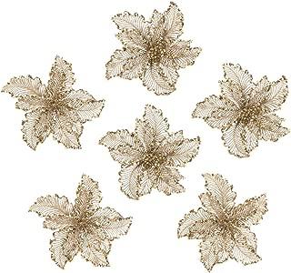 ARCCI Christmas Flower Ornament, Gold Glitter Artificial Poinsettia Flowers Xmas Tree Decorations, 6 PCS, 10.2