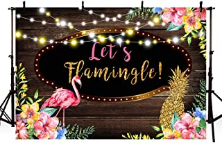 MEHOFOTO 7x5ft Let's Flamingo Wood Photography Backdrops Summer Tropical Girl Birthday Baby Shower Party Decoration Pink Floral Pineapple Glitter Lights Photo Studio Booth Backgrounds Banner