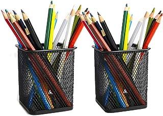 Saim Metal Square Mesh Design Home Office Desk Pen Stationery Organizer Storage Holder Container, Pack of 2, Black