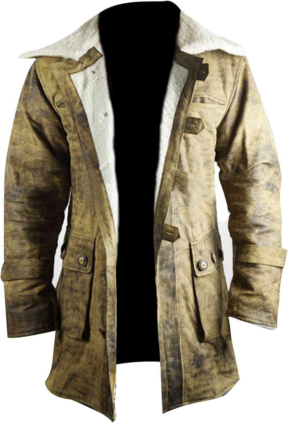 CHICAGO-FASHIONS Mens Bane Crocodile Buffing Coat - Knight Distressed Brown Hardy Fur Leather Rises Coat
