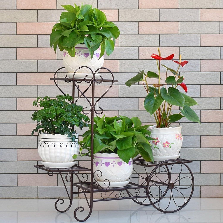 Flower Stand Shelf Multi Layer Plant Display Shelf Floor Balcony Living Room Interior Iron Flower Pot Rack (color   Black)
