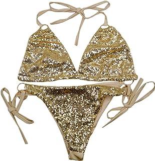 c8bb972b3e4 Amily Women Triangle Bikini Set 2 Piece Sexy Sequin Bikini Set Swimsuits  String Golden Ring Glitter