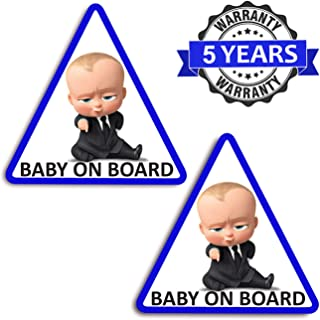 2 x Vinyl Self-Adhesive Funny Stickers Baby on Board Boy Boss Decal Car Window Auto B 165