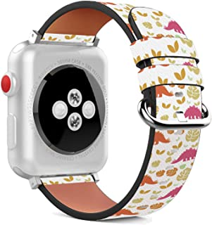 Compatible with Apple Watch - 38mm Leather Wristband Bracelet with Stainless Steel Clasp and Adapters - Nice Dinosaurs with Leaves
