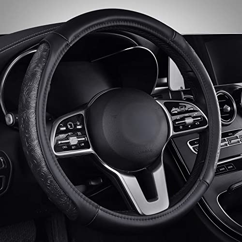 wholesale Coverado high quality Steering Wheel Cover, Wood Grain Design Anti-Slip Car Steering Wheel Protector, 15 Inch Universal fit new arrival for Most Car Truck SUV (Size[14 1/2''-15 1/2''], Dark Wood Grain) outlet sale