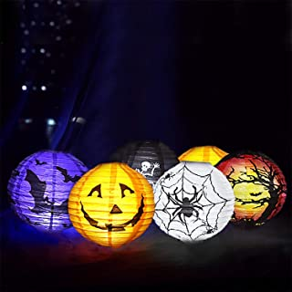 6 Pack Halloween Paper Lantern Halloween Party Lantern with Led Light, Halloween Hanging Lanterns Decorative, Halloween Jack-O-Lanterns for Home Outdoor Yard Party Deco