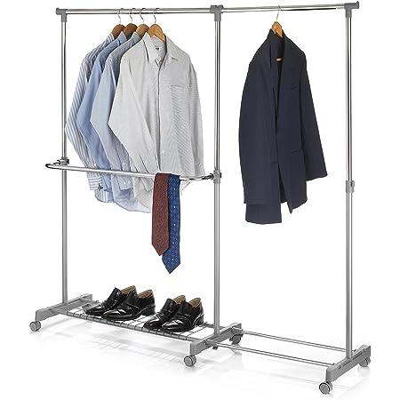 IDIMEX Portant à vêtements London penderie sur roulettes Rangement vestiaire Mobile Hauteur et Longueur réglables, avec 1 Tablette, en métal chromé et Gris