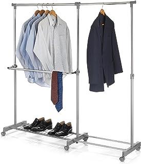 IDIMEX Portant à vêtements London penderie sur roulettes Rangement vestiaire Mobile Hauteur et Longueur réglables, avec 1 ...