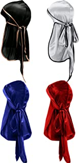 2 Pieces Velvet Durag and 2 Pieces Silky Soft Durag Cap Headwraps with Long Tail and Wide Straps for 360 Waves