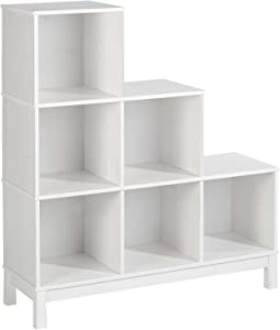 IDIMEX Etagère escalier bibliothèque Logo, 6 casiers pin Massif lasuré Blanc