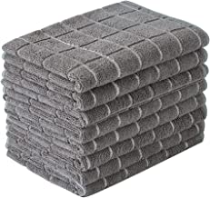 Microfiber Dish Towels - Soft, Super Absorbent and Lint Free Kitchen Towels - 8 Pack (Lattice Designed Gray Colors) - 26 x 18 Inch