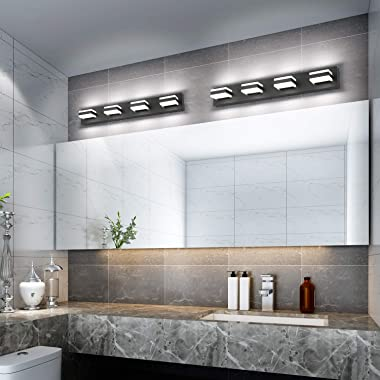 SOLFART Dimmable LED Modern Matt Black Bathroom Vanity Lights Over Mirror 4 Lights Acrylic Bath Wall Lighting
