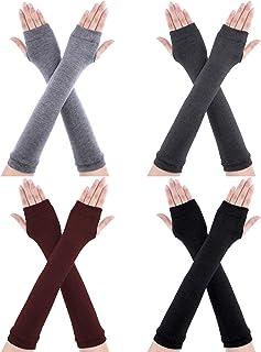 4 أزواج قفازات طويلة بدون أصابع لتدفئة طول الكوع بفتحة إصبع للنساء (أسود، رمادي فاتح، رمادي داكن)