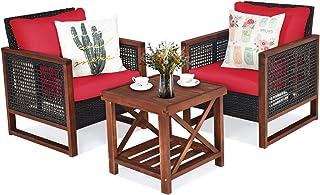 Tangkula 3 Pieces Patio Wicker Furniture Set, Rattan Outdoor Sofa Set w/Washable Cushion & Acacia Wood Coffee Table, Conversation Bistro Set for Garden Balcony Backyard (Red)