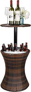 ZENSTYLE Height Adjustable Cool Bar Rattan Style Outdoor Patio Table Designed Cooler All-Weather Wicker Bar Table with Ice Bucket for Party, Pool, Deck, Backyard (Brown)