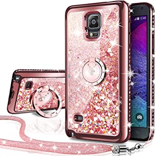 Galaxy Note 4 Case, Silverback Moving Liquid Holographic Sparkle Glitter Case with Kickstand, Bling Diamond Rhinestone Bumper W/Ring Slim Samsung Galaxy Note 4 Case for Girls Women -Rose Gold