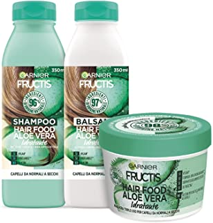 Garnier Fructis Hair Food Aloe Idratante, Kit con Shampoo, Balsamo e Maschera per Capelli Normali, 98% di Ingredienti di O...