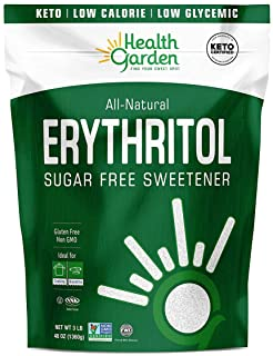 Health Garden Erythritol Sugar Free Sweetener - All Natural - Non GMO - Kosher- Keto Friendly (3 LB)