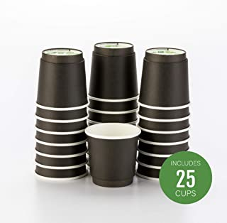25-CT Disposable Black 4-OZ Hot Beverage Cups with Double Wall Design: No Need for Sleeves – Perfect for Cafes or Home Use – Eco-Friendly Recyclable Paper – Insulated – Wholesale Takeout Coffee Cup