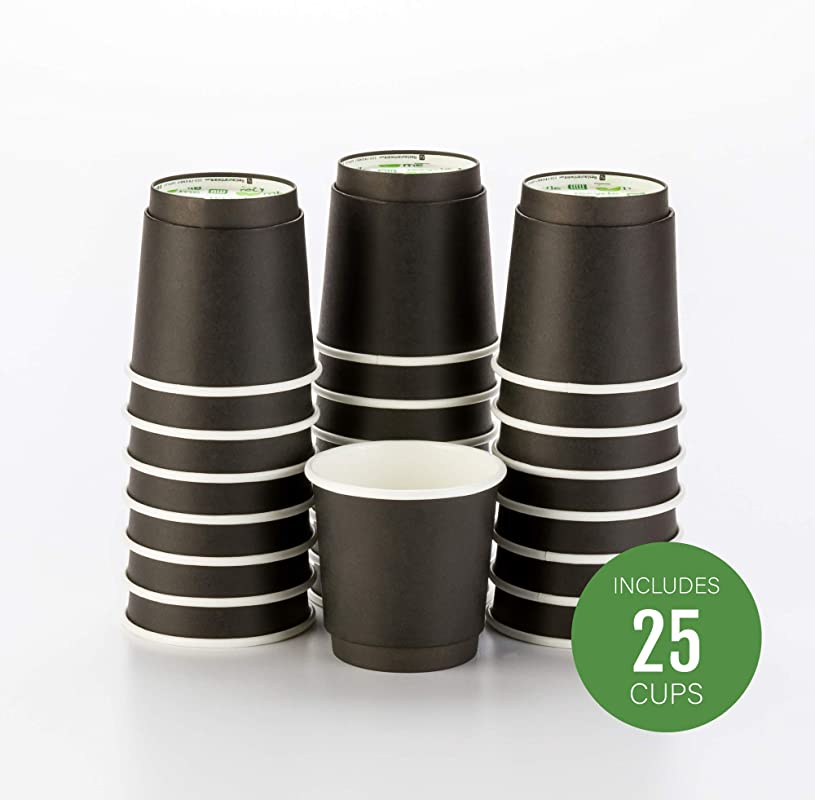25 CT Disposable Black 4 OZ Hot Beverage Cups With Double Wall Design No Need For Sleeves Perfect For Cafes Or Home Use Eco Friendly Recyclable Paper Insulated Wholesale Takeout Coffee Cup