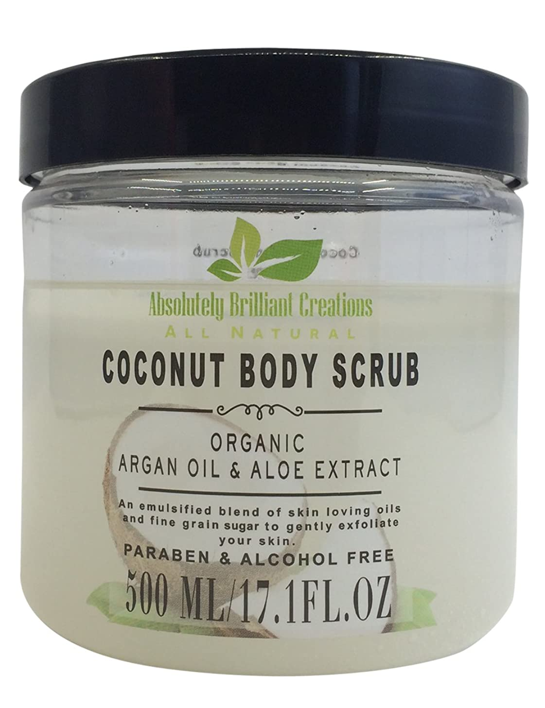 Sugar Body Scrub with Coconut Oil, Argan Oil & Aloe - All Natural Scrub to Exfoliate & Moisturize Skin - Alcohol & Paraben Free, 500 mL