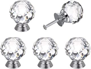 "Probrico 5Pcs Crystal Kitchen Cabinet and Dresser Door Knobs Glass Drawer Pulls 20mm/0.8"" Width"