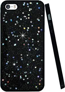 BAISRKE Glitter Case for iPhone 5 5s SE, Slim Luxury Bling Glitter Sparkle Clear Transparent Soft TPU Bumper Back Cover Case for iPhone 5 5s SE - Black