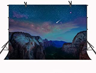 FUERMOR Starry Sky Backdrop 7x5ft Night Mountain Photography Backdrops Props Nature Scenery Photo Background LYFU133