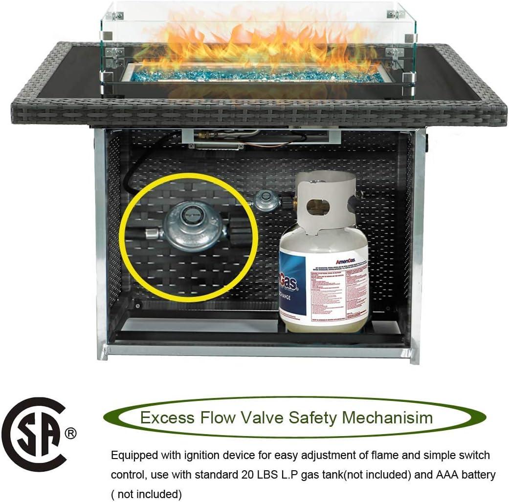 44.1 Outdoor Patio Propane Gas Gray PE Wicker Fire Pit Table ...