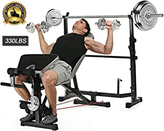 Adjustable Olympic Weight Bench and Power Tower Workout Dip Station with Leg Developer for Weight Lifting and Strength Training and Squat Rack for Proffesional Fitness Home Use Exercise