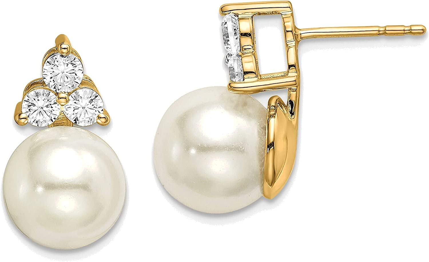 YG Lab Grown Dia SI1/SI2, G H I, Freshwater Cultured Pearl Post Earrings in 14K Yellow Gold
