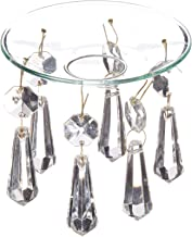 Boston Warehouse Set of Two Bobeche Candle Rings with Suspended Crystal Prisms