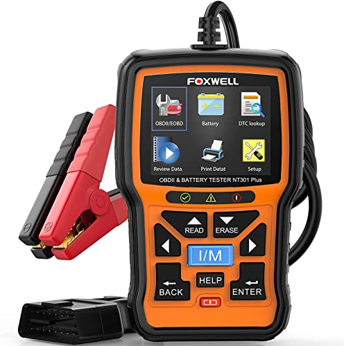 high quality FOXWELL NT301 Plus OBD2 Scanner with high quality 12V Battery Tester, Check Engine Code Reader Scan Tool, [2021 New Version] 2 in popular 1 Car Scanner Diagnostic for All Cars, O2 Smog Test Automotive Scanner outlet online sale