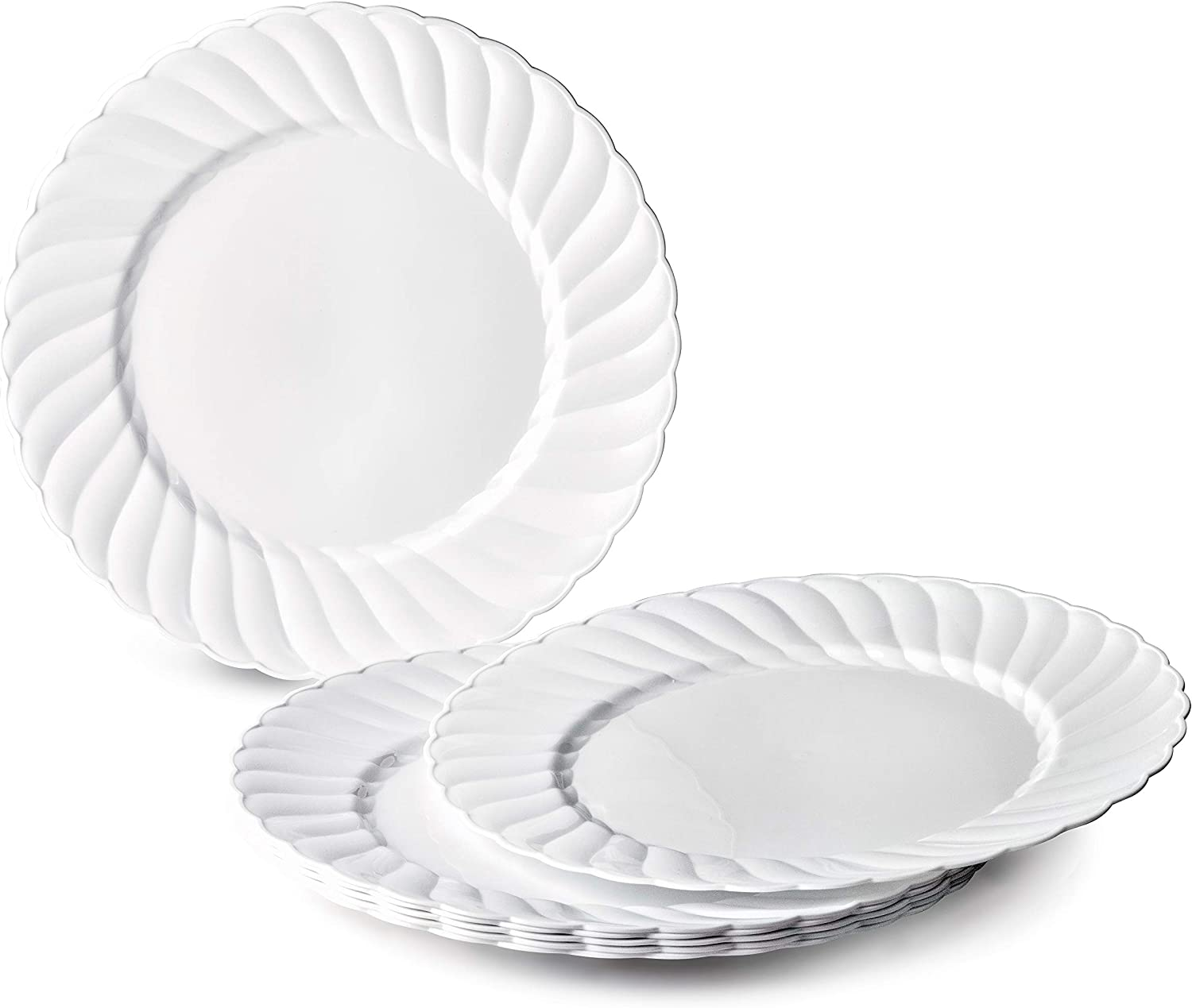 OCCASIONS 120 PACK, Heavyweight Wedding Party Disposable Plastic Plates (10.25'' Dinner Plate, Blossom in White)