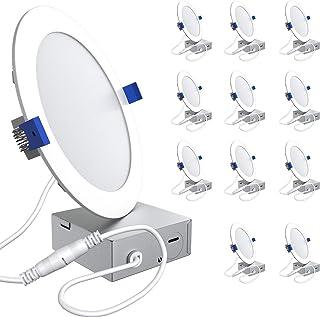 چراغهای فرفورژه 6 اینچ با نازک فوق العاده نازک 5000K در زیر نور چراغ سقفی در معرض دید روزانه با جعبه اتصال 12.5W 850 lm ETL و انرژی ستاره دارای مجوز 12 بسته ...