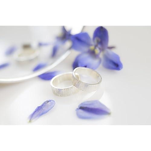 Alianza de plata 925, anillo de boda hecho a mano con textura ...