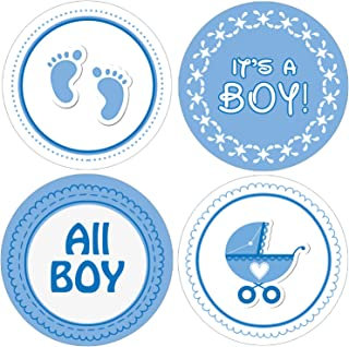 Boy Baby Shower Favor Stickers - Blue Footprint Theme - 1.75 in - 40 Labels