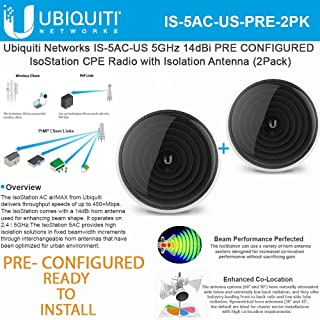 IsoStation IS-5AC-US PRE CONFIGURED 5GHz 802.11ac CPE 14dBi Shielded Airmax ac Radio with Isolation Antenna (2 Pack)