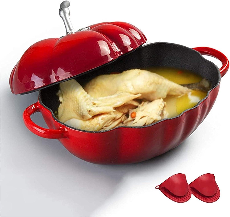 Olla de Sopa de Cazuela de ollas de Cocina Plato de cazuela de Hierro Fundido esmaltado con Guantes de Silicona para Carnes y Verduras de cocción Lenta