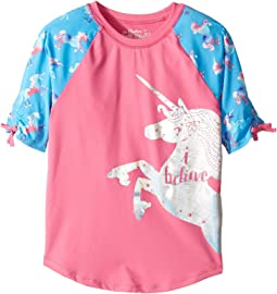 Rainbow Unicorns Short Sleeve Rashguard (Toddler/Little Kids/Big Kids)