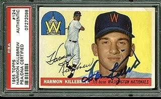 Nationals Harmon Killebrew Signed 1955 Topps Rookie #124 Card Slabbed - PSA/DNA Certified - Baseball Slabbed Autographed Cards