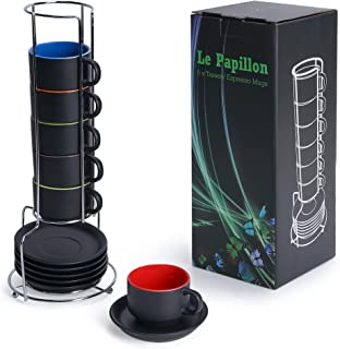 MiaMio - 6 x 75 ml Ensemble tasses à expresso en grès Extérieur noir Intérieur coloré (Coloré)